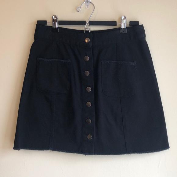 Black Denim Button-front Skirt